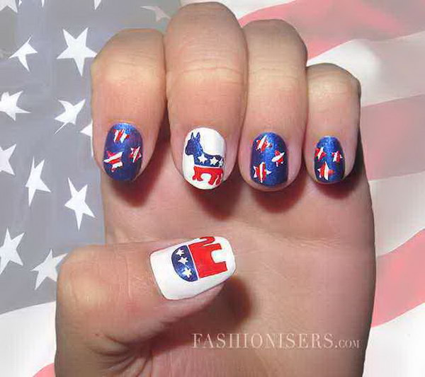 4th of July Cute Elephant, Horse and Stars Nail Art