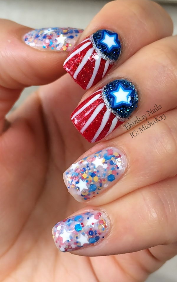 4th of July Glitter Gradient Nails: This nail design is a funky take on stars and stripes-inspired nails. The different glitters add more character. With the clever galaxy nails set, you can create a great 4th of July nails look that is beautiful and unique, but totally shows some love on the Fourth of July.