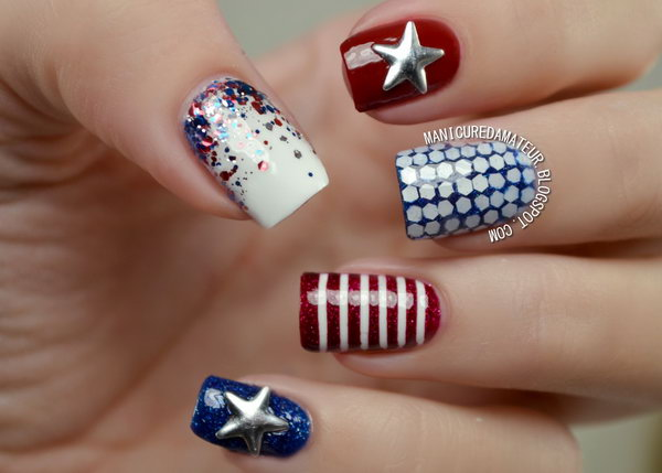 Patriotic All Details Accented Nails: This manicure has so many details. It's a great example to be extra charming with delicate details. See the tutorial here.