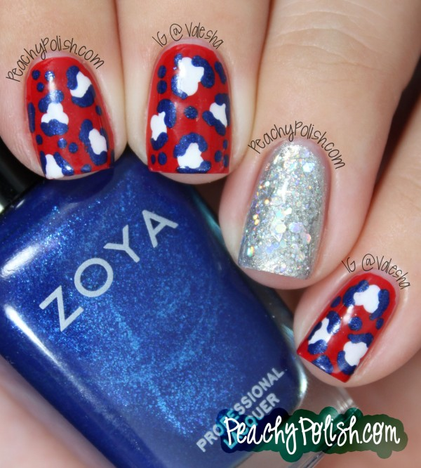 Red, White and Blue Leopard Print with a Sparkly Accent Nail: I love leopard print especially for nail art! It looks feminine and flattering on nails. And this leopard print with a sparkly accent nail is a great way to both reflect the American spirit and stay pretty. See the tutorial here.