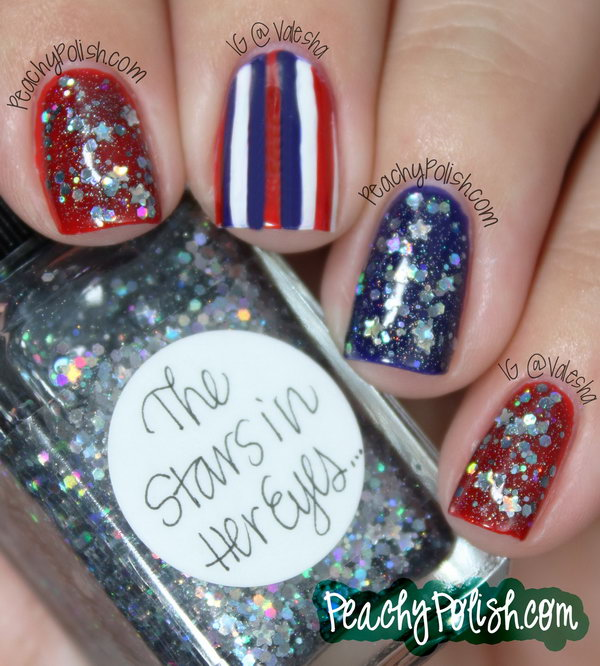 4th of July Glitter with a Striped Accent Nail:  This July 4th Nail is a sparkle and fancy way to rock your country's colors. Show off your patriotic pride with this striped accent nail. S