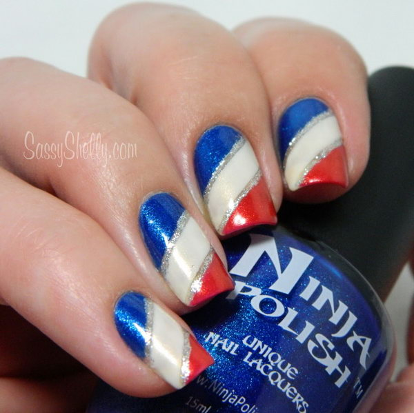 4th of July Gradient Stripes Nails: The silver lines as accents to the nail design really pop the whole thing. See the tutorial here.