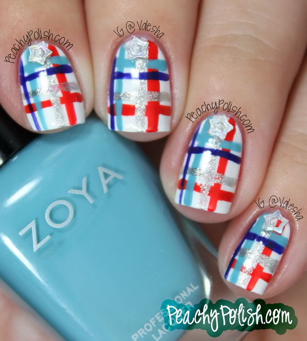 Patriotic Summery Plaid Manicure: With little glitter stars to amp up the 4th of July factor, the beautiful red, blue and white plaid manicure looks so glamorous and it will keep you from looking tacky. See the tutorial here.