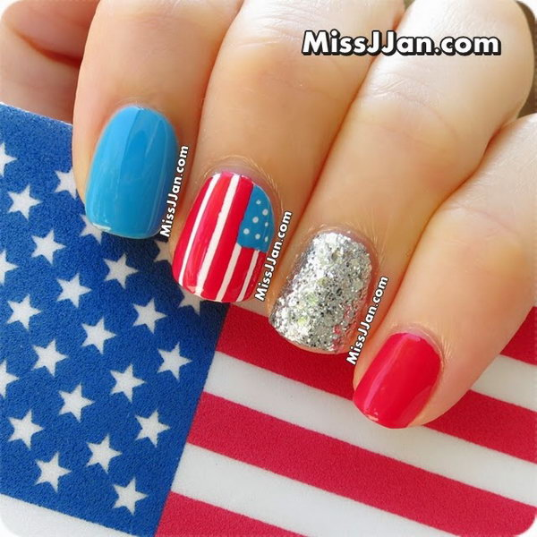 4th of July Glitter Nails: This is a fun and different design with the idea of something different for each nail. Loving the navy blue and the silver glitter very much. See the tutorial here.