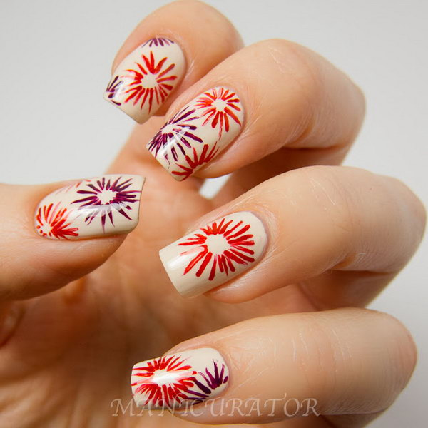 Simple Beauty Patriotic Fireworks Manicure. See the tutorial
