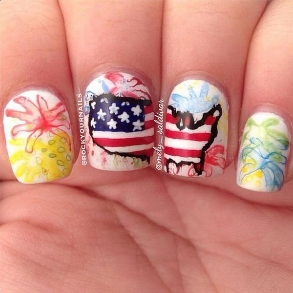 Watercolor Fireworks Mani: Loving this patriotic watercolor fireworks manicure with so many details. See the tutorial
