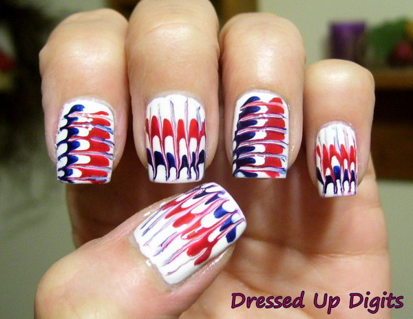 Needle Marbling Fireworks Inspired Nail Art: Head over to see the tutorial