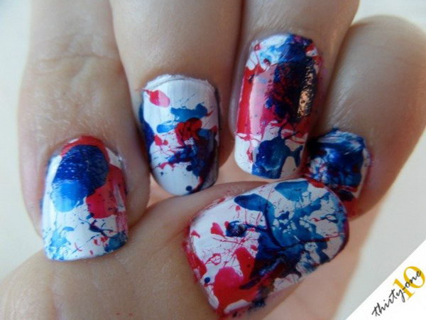 4th of July Firecracker Nails: Copy this this different and unique look and you'll be rocking these for the 4th of July for sure. See the tutorial here.