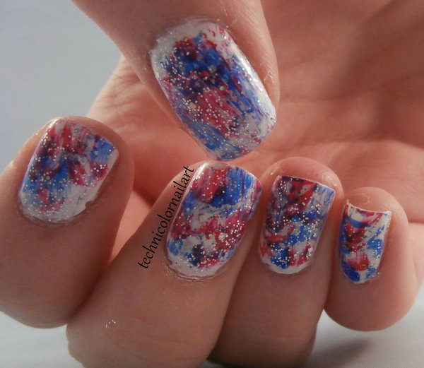 Patriotic Red, White and Blue Nail: See the tutorial here.