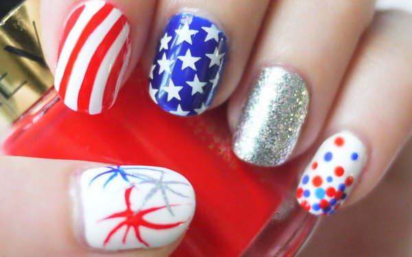 Red, White, and Blue Sparkling Fireworks, stars and Stripes Nail: I love that how my favorite patterns like the stars , stripes, polka dots, fireworks and sequins are mixed to give a sparkling look.