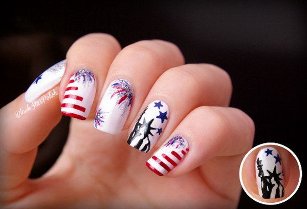 Patriotic Fireworks and the Statue of Liberty Nail Art: On a White base coat, this nail art looks very clean and fresh. It's a perfect way to keep your nail art from looking tacky on the memorial day.