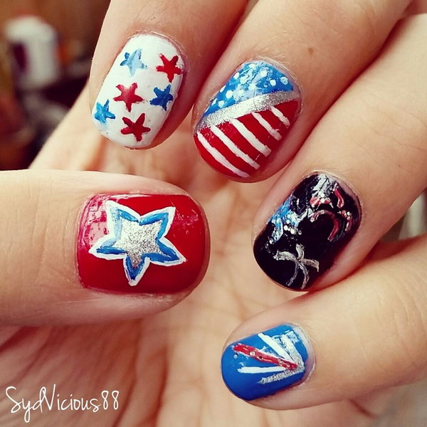 Patriotic Firework Inspired Nail: This festive 4th of July Fireworks nail art makes something memorable to bring to the big elaborate fireworks display!