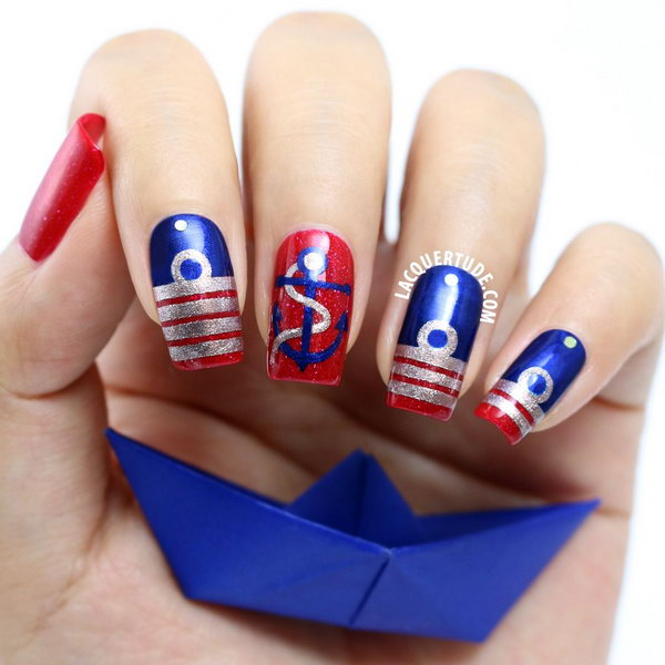 Patriotic Anchor Accented Nautical Long Nails