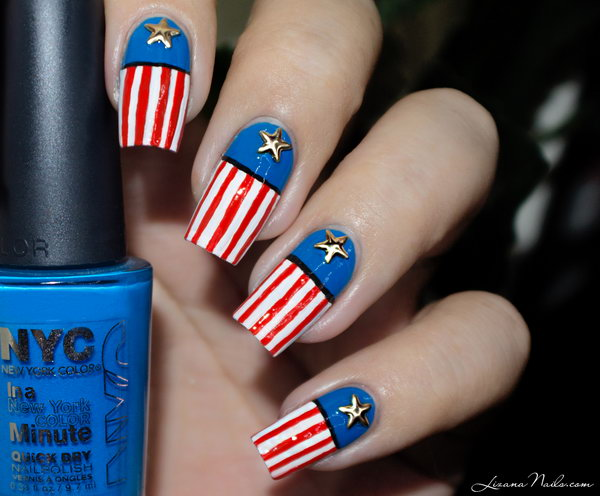 Patriotic American Long Nails: We're obsessed with the fresh color scheme and the star arrangements as a more interpretive take. This is a great 4th of July nails look that is all you, but totally shows your spirit. See the tutorial