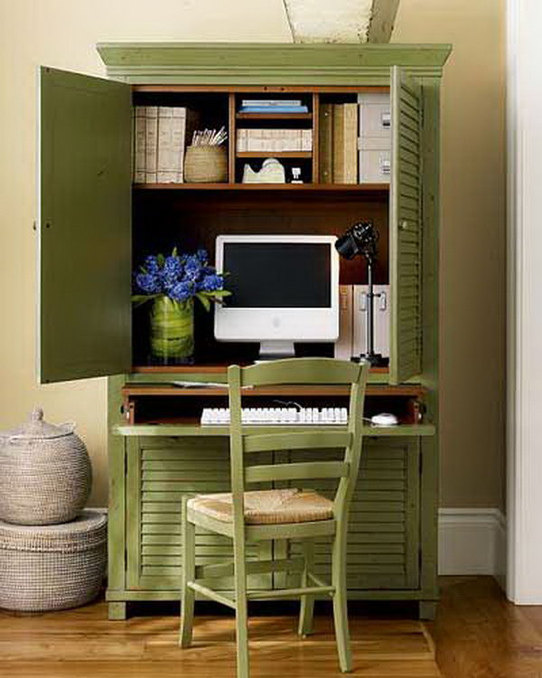 DIY Computer Desk from Wardrobe. It's a good idea to close off the computer area and have something beautiful to look at!