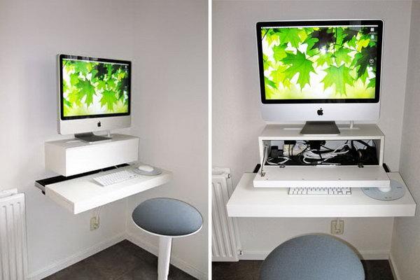 IKEA Hack Wall Mounted Computer Desk.