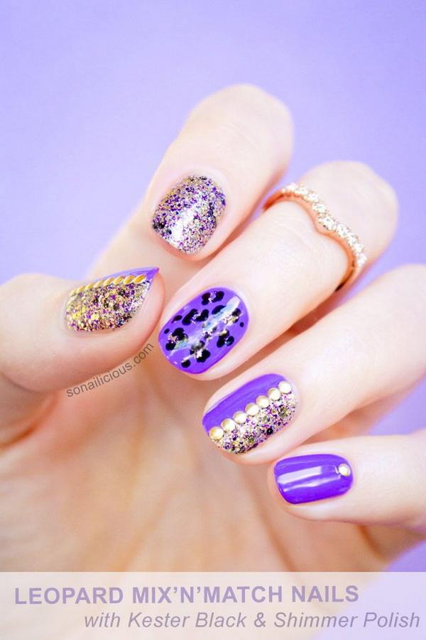 Leopard Print Purple Glitter Nails.