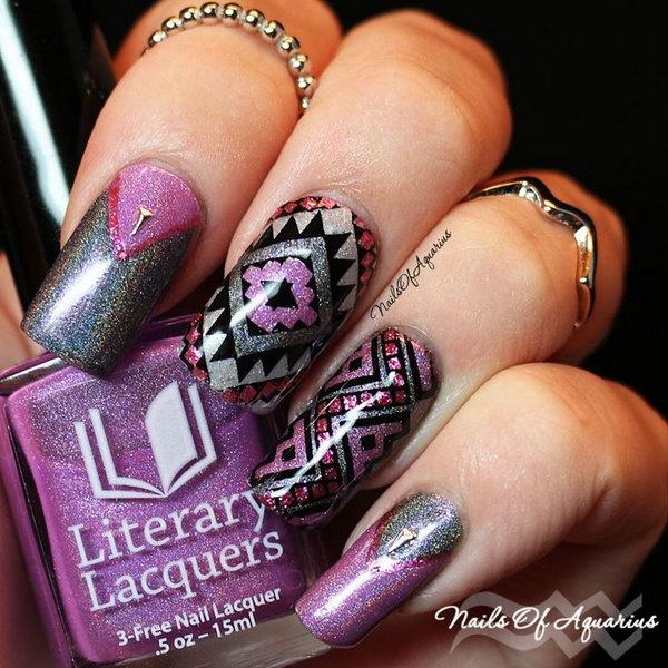 Abstract Purple Nail Art.