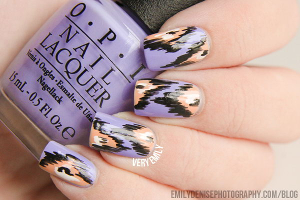 Lavender, Peach and Black Nail Art.