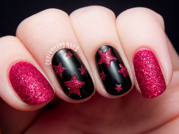 Textured Ruby Stars Nail. This is all sorts of perfect! I love it, so clever! :)