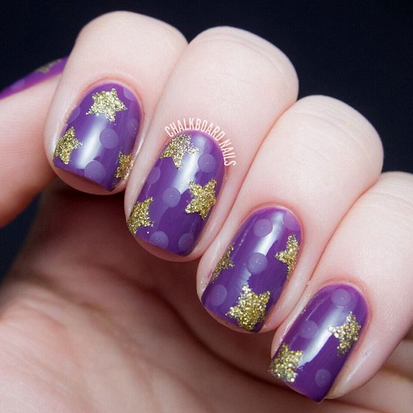 Purple Nail with Gold Glitter Stars. This is all sorts of perfect! I love it, so clever! :)