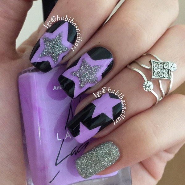 Black and  Purple Star Nail. This is all sorts of perfect! I love it, so clever! :)