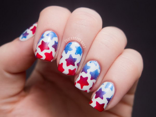 Stenciled Star Nails. This is all sorts of perfect! I love it, so clever! :)