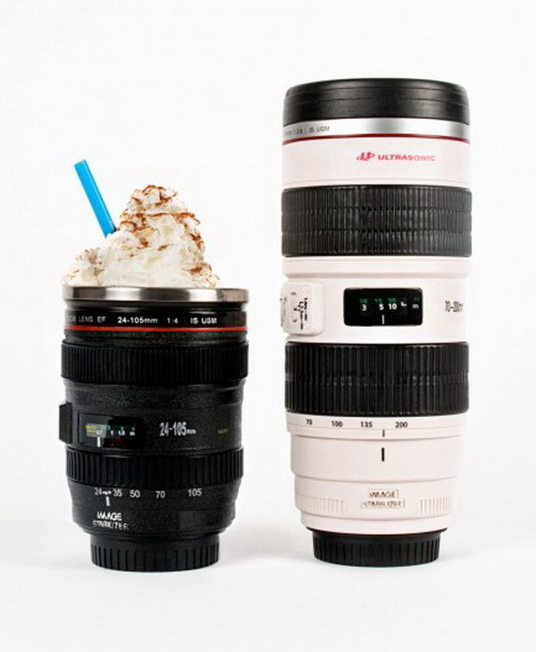 Camera Lens Mug. If he loves photography, then this creative camera-shaped mug will be a perfect gift for him.