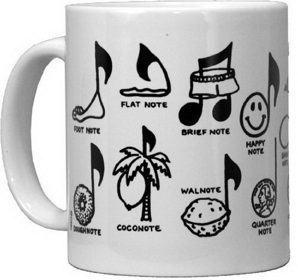 Music Note Mug. This mug features a fun and witty music-themed message. It's a perfect gift idea for the music lovers in your life.