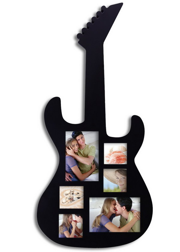Guitar Picture Frame. Showcase your love of music with this beautiful, guitar-shaped frame. It's a wonderful gift to anyone who loves guitar or music.