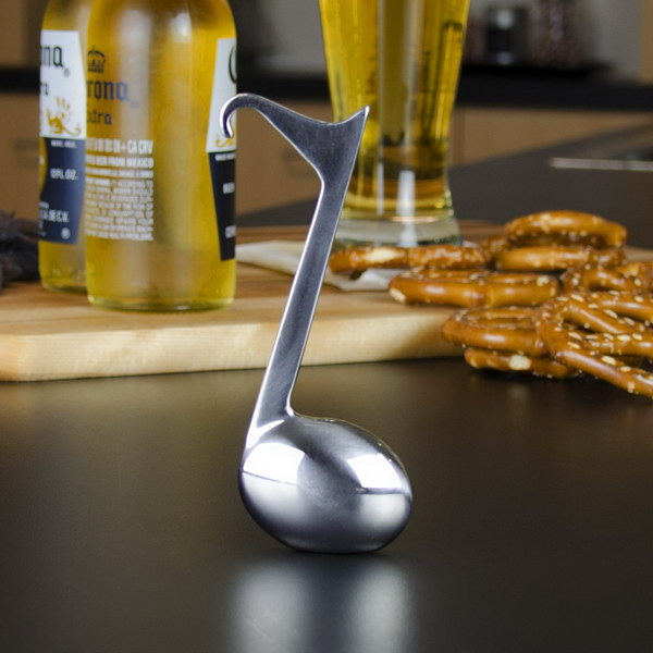 Music Note Bottle Opener. This bottle opener is really heavy and well made. It is a must-have bar accessory for any music lover.