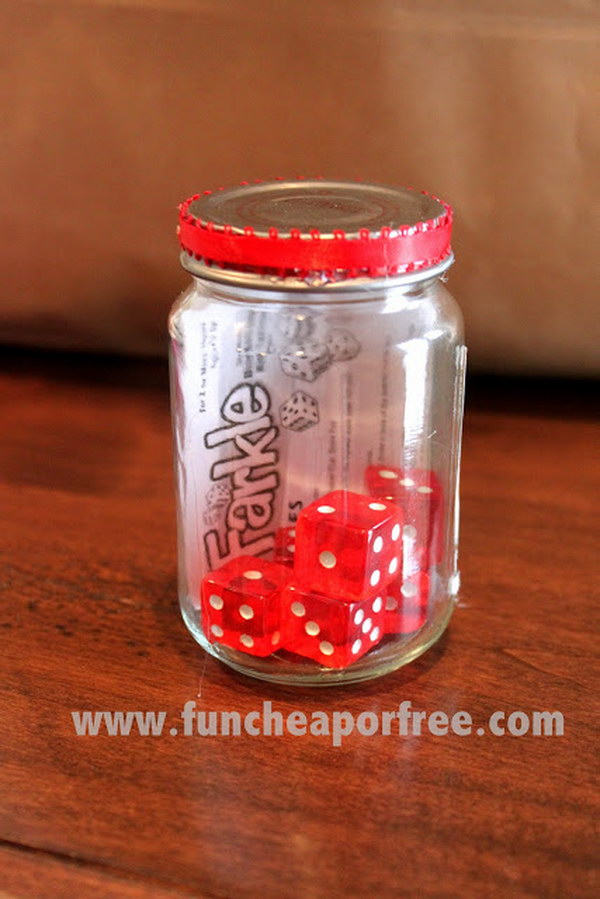 Travel Farkle Game with Instructions in a Jar. Farkle is a fun, simple, exciting game the whole family can play! You can make the little travel farkle game for your neighbors to use on every trip. So easy and cheap but a lot of fun!