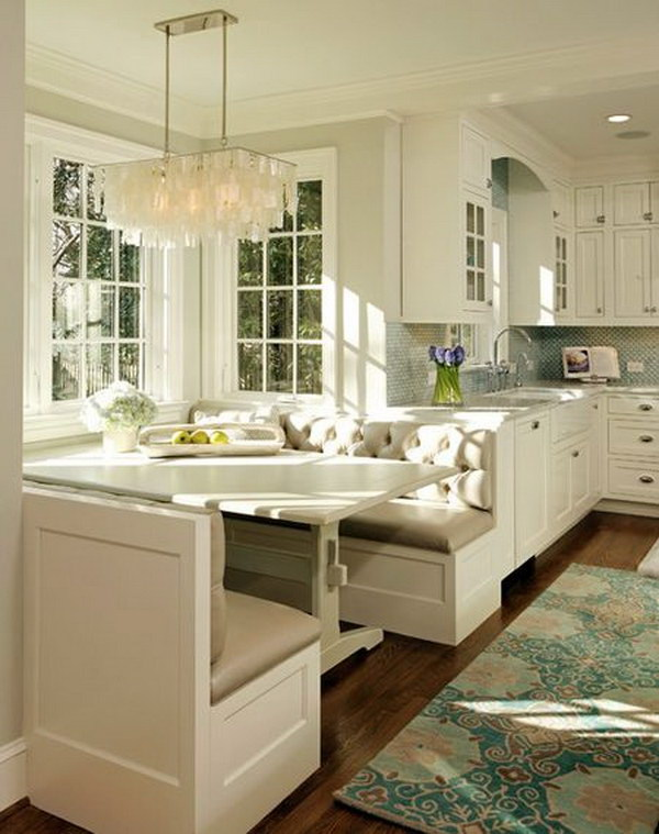 Traditional Beige and White Eat-in Breakfast Nook.