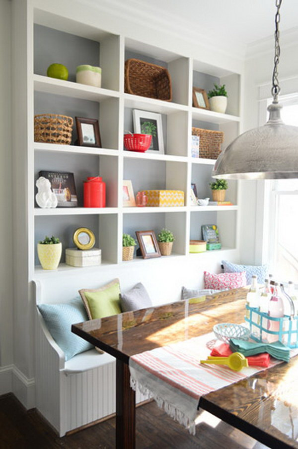 Custom Breakfast Nook with Built-in Wall Storage.