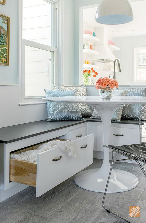 White and Gray Breakfast Nook with Built-in Storage.