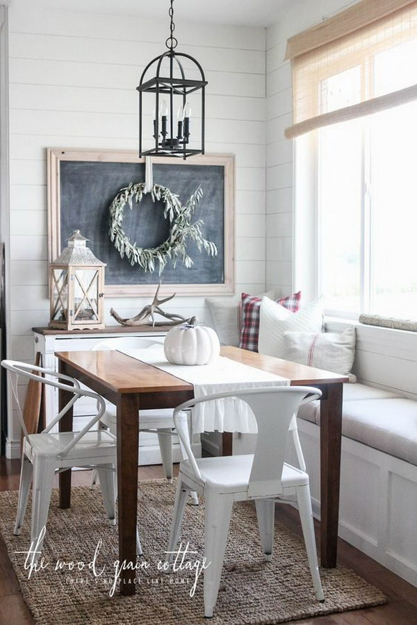 Fresh and Simple Fall Breakfast Nook with a Chalkboard.