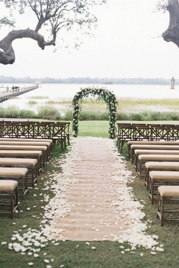 Classic Floral Arch with Petal Burlap Wedding Aisle Runner and Linen-Upholstered Wooden Benches