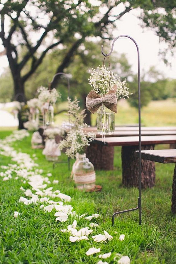 Burlap Aisle Runners for Weddings with Baby's Breath