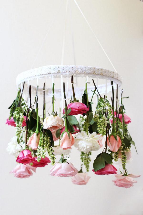 DIY Flower Chandelier