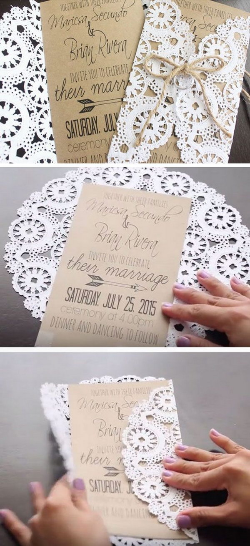 DIY Doily Paper Rustic Wedding Invitations