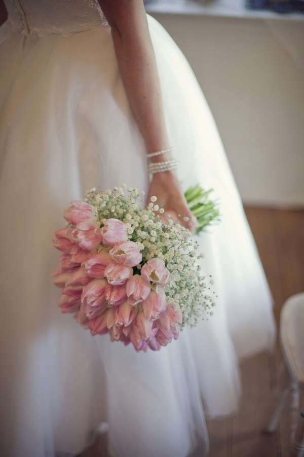 Pink Tulips and Baby's Breath Bouquet