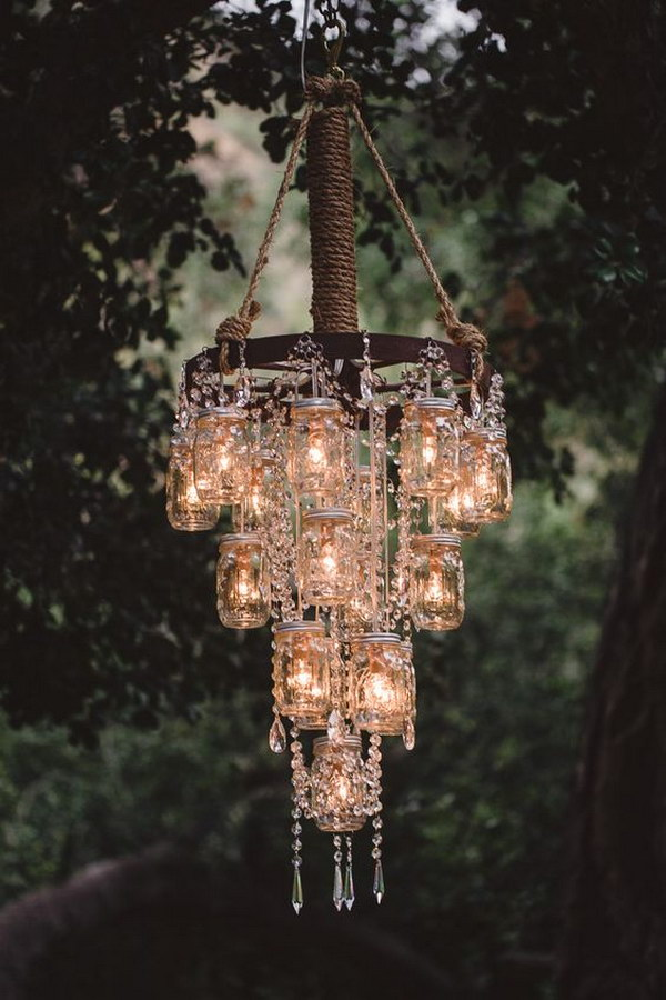 Rustic Bling-Wagon Wheel and Hanging Jars Chandelier