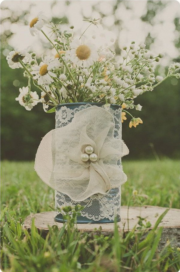Vintage Ivory and Blue Lace Tin Can Vase