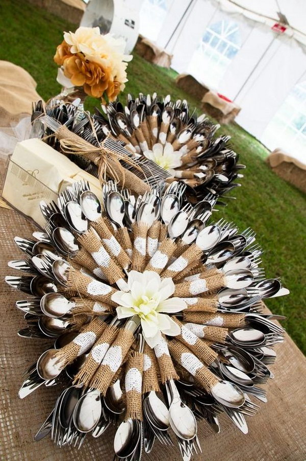 Rustic Cutlery Display Idea Wrapped Silverware For Wedding Table Decor