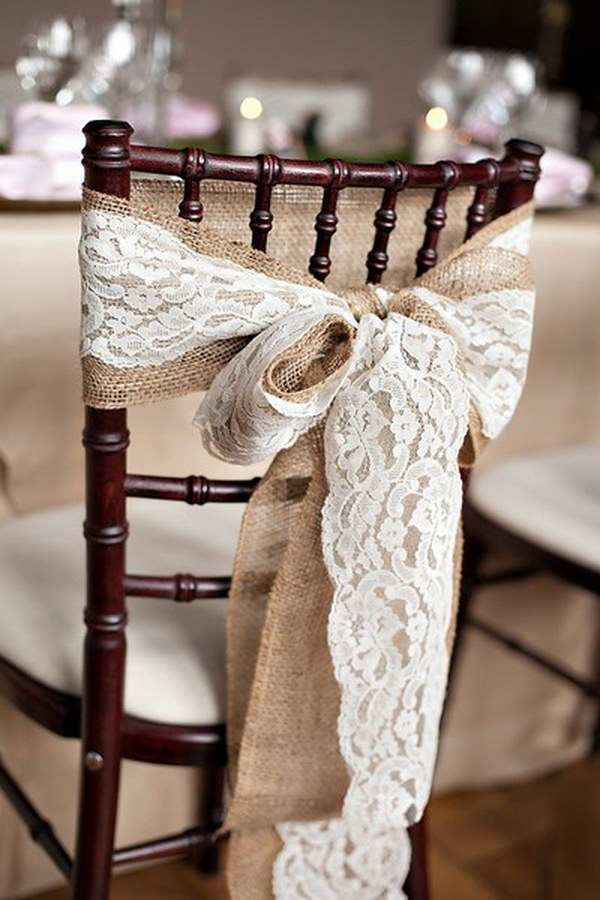 Rustic Burlap Chair Sash and Lace Ribbon Wedding Chairs Decoration