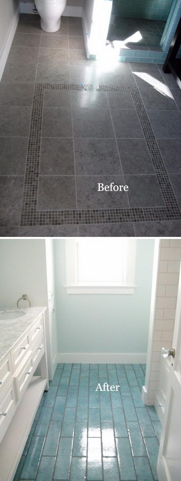 DIY Bathroom Flooring Remodel Using Aqua Blue Tiles.