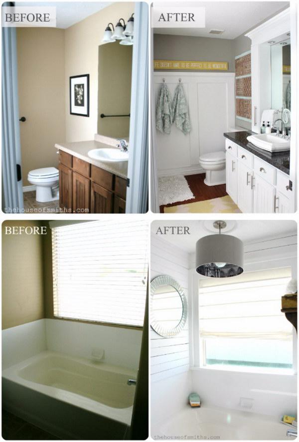 Master Bathroom Makeover Reveal + CD Towers Turned Vanity Storage.