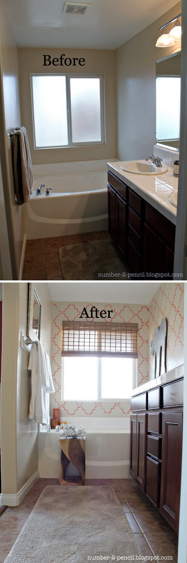 Coral and Yellow Master Bathroom Makeover.