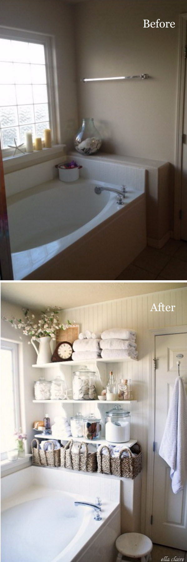 DIY Bathroom Linen Shelves.