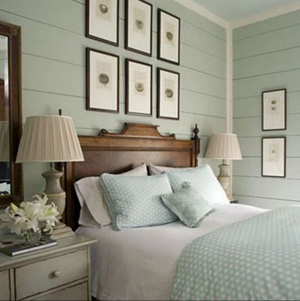 Small Bedroom with Robin's Egg Blue Horizontal Beadboard.